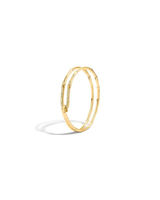 John Hardy | Metallic Bamboo 18k Gold Diamond Hook Bracelet | Lyst