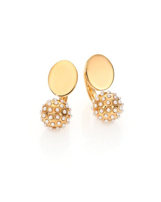 Chloé | Metallic Darcey Faux Pearl Sphere Arc Earrings | Lyst
