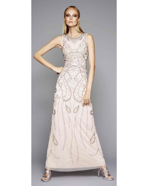 Snap Adrianna papell Halter Fully Beaded Gown in Pink Lyst photos on ...