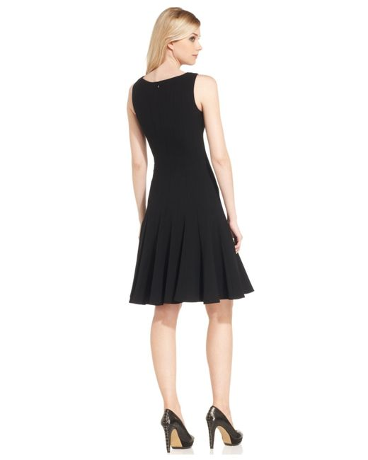 Calvin Klein Petite Sleeveless Seamed Dress In Black | Lyst