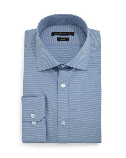 John varvatos slim fit horizontal stripe dress shirt in for Horizontal striped dress shirts men