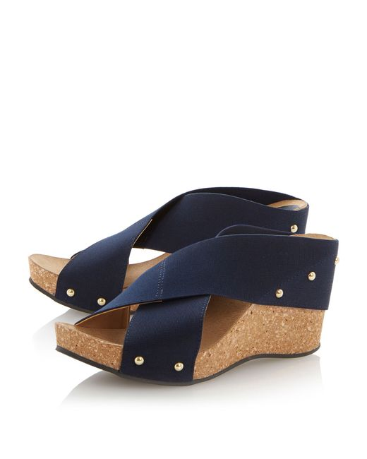 Dune Gladley Crossover Strap Wedge Sandals In Blue Lyst