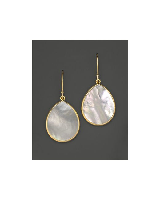 Ippolita | Metallic 18k Gold Polished Rock Candy Teardrop Earrings In Mother-of-pearl | Lyst