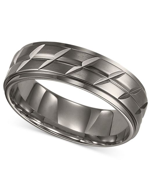 Triton Wedding Band Titanium 7mm: Triton Etched Wedding Band In Silver For Men