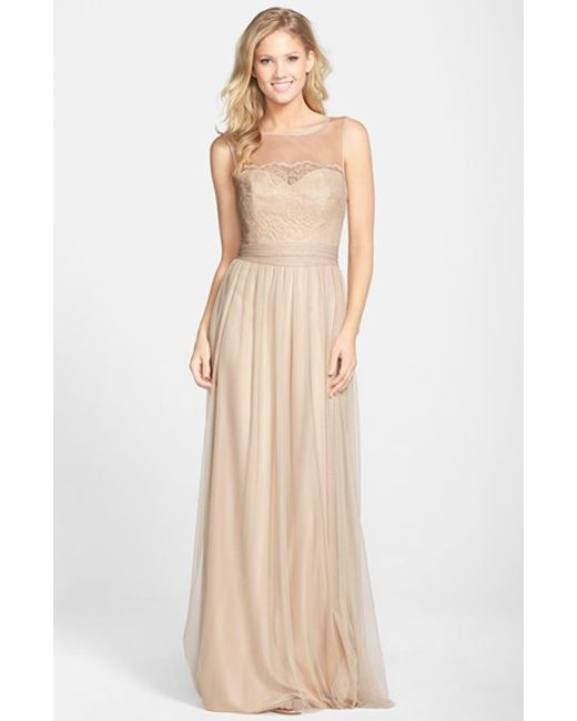 Amsale | Natural Lace & Tulle Gown | Lyst