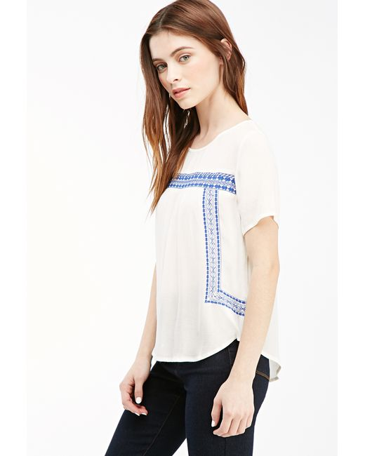 Forever 21   Blue Embroidered Peasant Top   Lyst