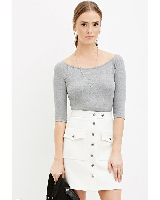 Forever 21 | Natural Buttoned Two-pocket Skirt | Lyst