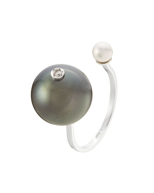 Delfina Delettrez | Metallic 18kt Gold Ring With White Diamond, Tahiti Pearl And Pearl | Lyst