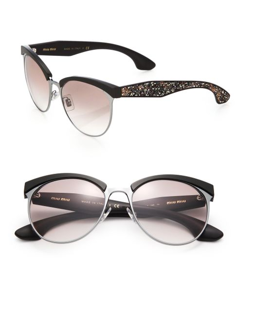 Miu Miu | Black Oversized 56mm Round Sunglasses | Lyst