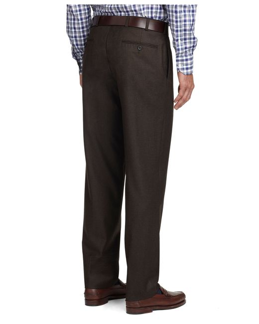 Brooks Brothers | Brown Fitzgerald Fit Plain-front Flannel Dress Trousers for Men | Lyst