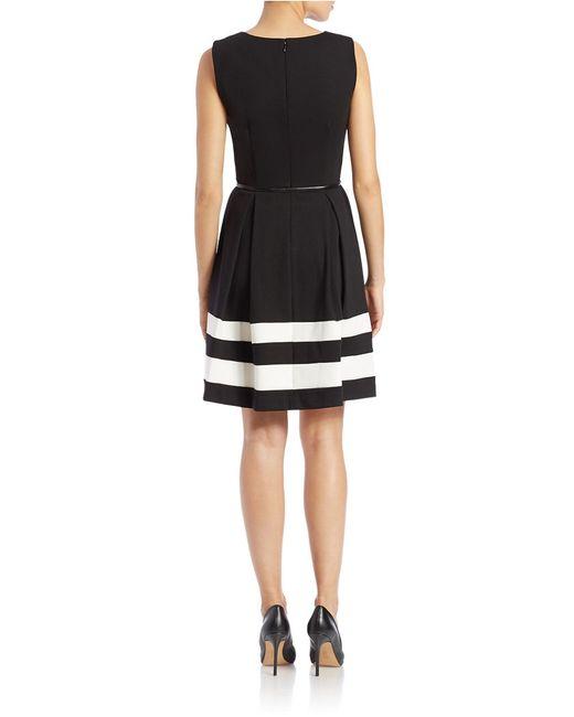 Calvin Klein   White Belted Stripe A-line Dress   Lyst