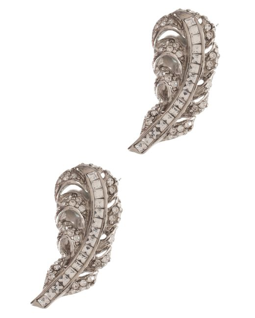 Oscar de la Renta | Metallic Feather Crystal Earrings | Lyst