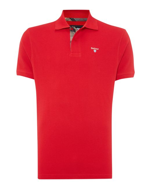 Barbour | Red Tartan Pique Polo for Men | Lyst