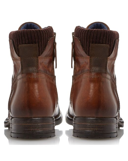 Dune | Brown Calabash Leather Lace Up Boots for Men | Lyst