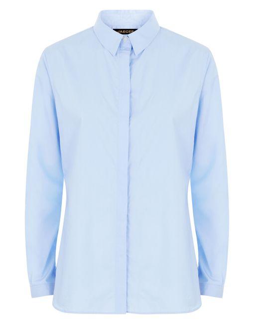Jaeger cotton poplin work shirt in blue save 58 lyst for Blue cotton work shirts