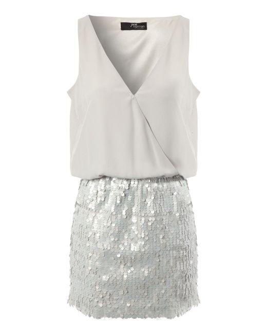 Jane Norman   Silver Sequin Skirt Dress   Lyst