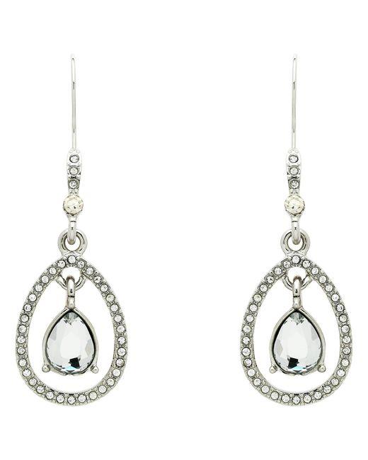 Monet | Metallic Teardrop Glass Crystal Open Drop Earrings | Lyst