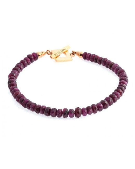 Tateossian | Purple Red Ruby Precious Stone Bracelet With 18k Rose Gold Clasp for Men | Lyst