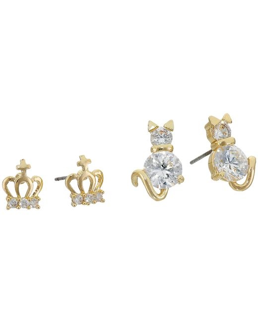 Betsey Johnson | Metallic Cubic Zirconia Cat Crown Duo Stud Earrings | Lyst
