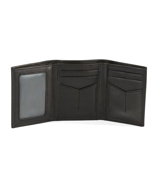 Fossil | Black Omega Leather Trifold Wallet for Men | Lyst