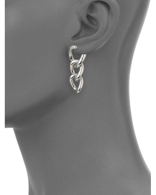 Pomellato   Metallic Sterling Silver Gourmette Link Drop Earrings   Lyst