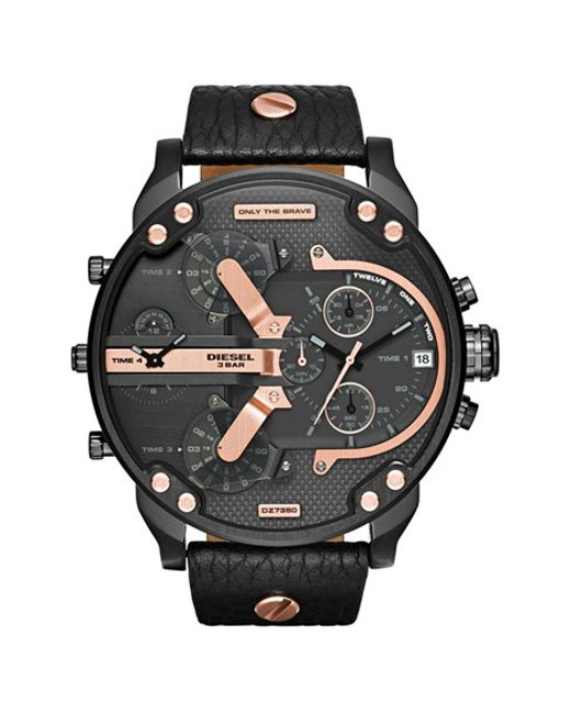 DIESEL | Black Diesel 'mr. Daddy 2.0' Chronograph Leather Strap Watch for Men | Lyst