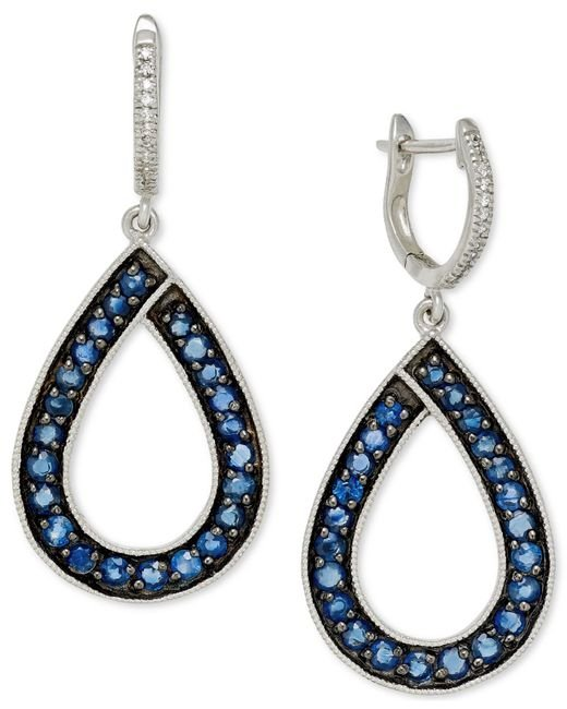 Macy's | Metallic Sapphire (1-9/10 Ct. T.w.) And Diamond (1/10 Ct. T.w.) Teardrop Earrings In 14k White Gold | Lyst