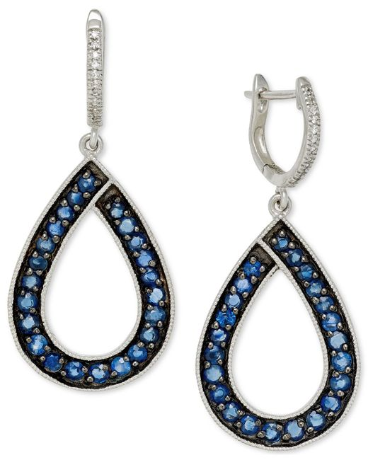 Macy's | Blue Sapphire (1-9/10 Ct. T.w.) And Diamond (1/10 Ct. T.w.) Teardrop Earrings In 14k White Gold | Lyst