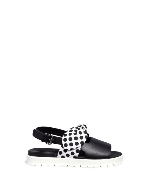 Mother of pearl 'ordell' Spot Bow Leather Sandals in Black ...