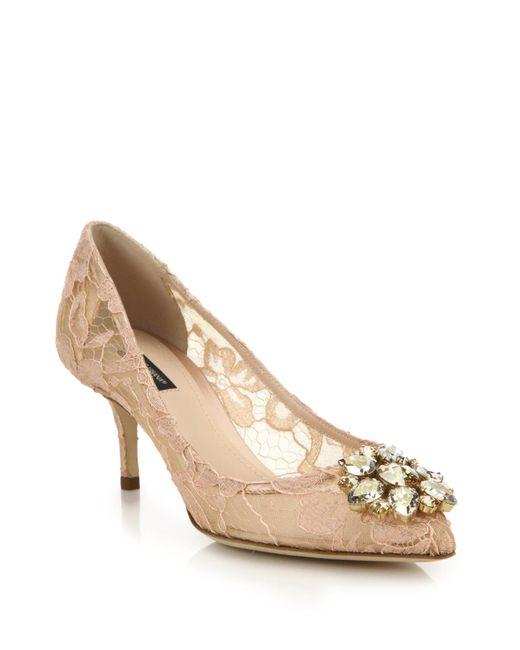 Dolce & Gabbana | Beige Embellished Lace Point-toe Pumps | Lyst
