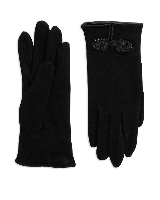 Lauren by Ralph Lauren | Black Rosette Wool-blend Gloves | Lyst