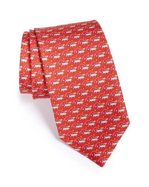 Ferragamo | Red Dog Print Silk Tie for Men | Lyst