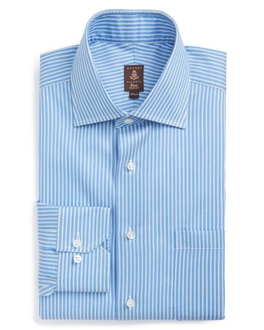 robert talbott trim fit stripe dress shirt in blue for men