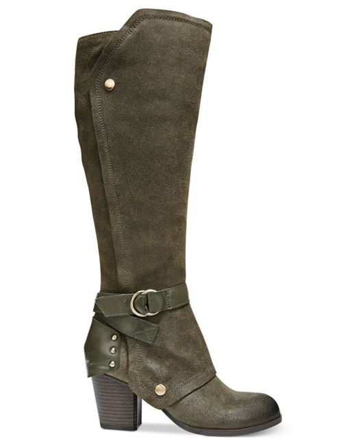 fergie total cuffed knee high boots in green evergreen