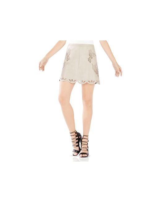 BCBGMAXAZRIA | Natural Jennifer Embroidered Faux Leather Skirt | Lyst