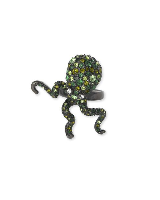 Kenneth Jay Lane | Multicolor Multi Green Pavé Octopus Ring | Lyst