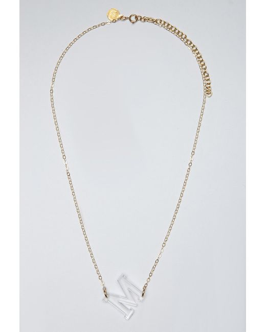Forever 21 | Metallic Moon And Lola Acrylic Varsity M Necklace | Lyst