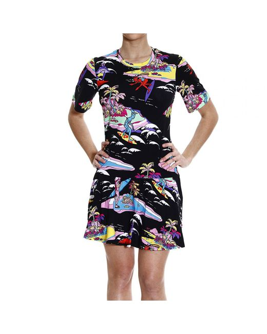 Love Moschino   Blue V-back Printed Dress   Lyst
