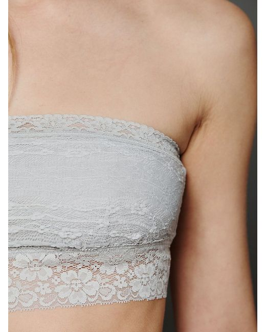 Free People | Gray Lace Trim Bandeau | Lyst