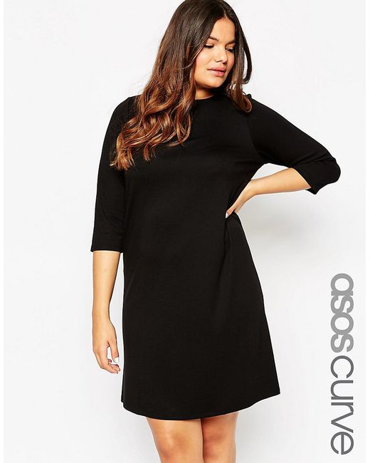ASOS | Ponte Shift Dress With 3/4 Sleeve - Black | Lyst