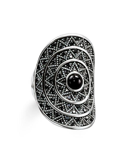 Thomas Sabo | Metallic Zig Zag Black Onyx Cocktail Ring | Lyst
