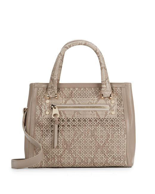 Sondra roberts saffiano snake embossed laser cut faux for Define faux leather