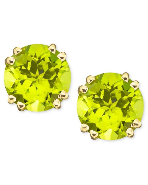 Macy's | Metallic 14k Gold Peridot Stud Earrings (4 Ct. T.w.) | Lyst