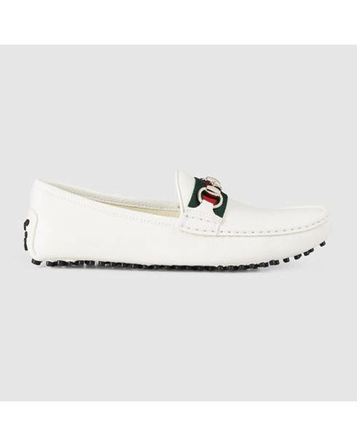 Gucci | White Damo Leather Driving Moccasins | Lyst