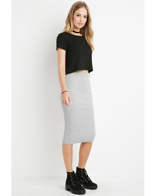 Forever 21 | Gray Ribbed Midi Sweater Skirt You've Been Added To The Waitlist | Lyst
