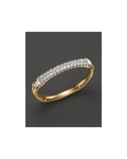 John Hardy | Metallic Bamboo 18k Yellow Gold Diamond Pave Slim Band Ring | Lyst