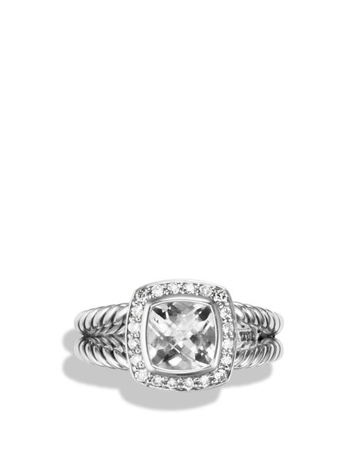 David Yurman | Petite Albion Ring With White Topaz & Diamonds | Lyst