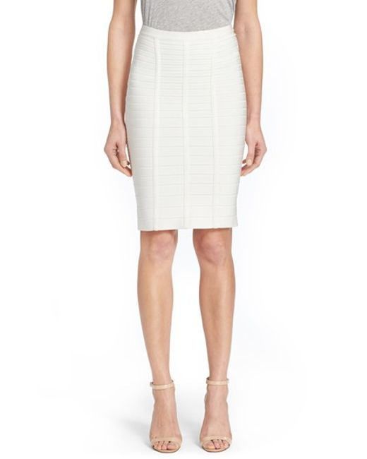 Hervé Léger | White Bandage Pencil Skirt | Lyst