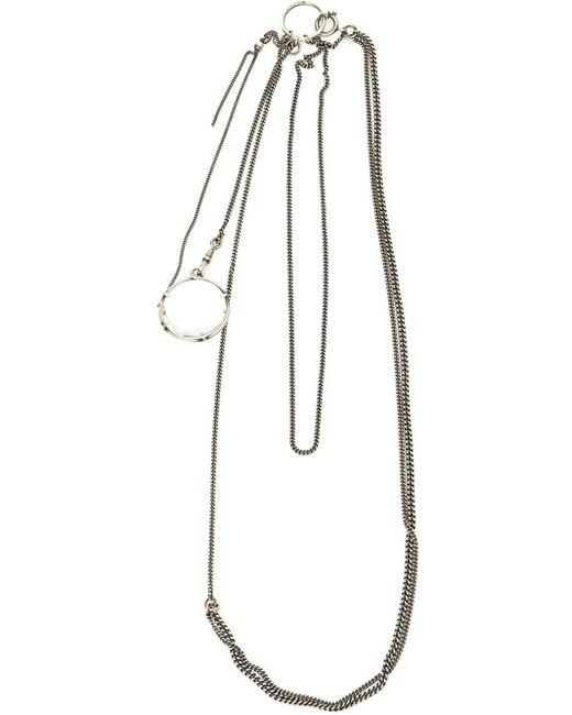 Ann Demeulemeester Blanche | Silver Glass Lens Pendant Necklace | Lyst