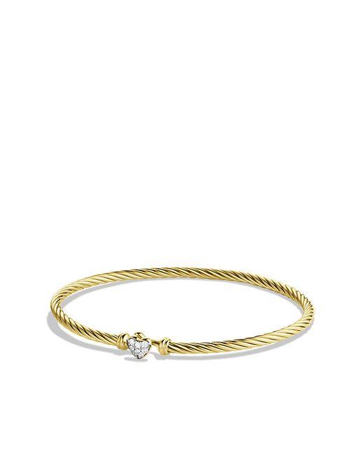 David Yurman | Metallic Heart Bracelet With Diamonds In 18k Gold | Lyst